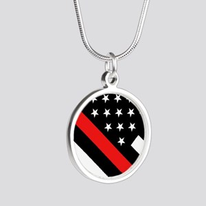 Firefighter Flag: Thin Red L Silver Round Necklace