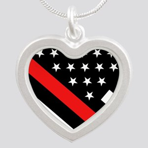 Firefighter Flag: Thin Red L Silver Heart Necklace
