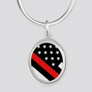 Firefighter Flag: Thin Red Li Silver Oval Necklace