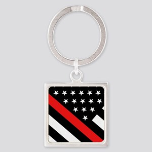 Firefighter Flag: Thin Red Line Square Keychain