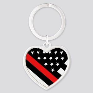 Firefighter Flag: Thin Red Line Heart Keychain
