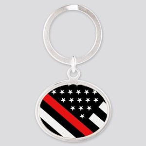Firefighter Flag: Thin Red Line Oval Keychain