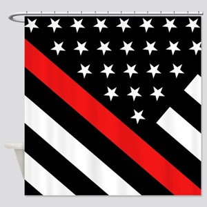 Firefighter Flag: Thin Red Line Shower Curtain