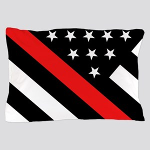 Firefighter Flag: Thin Red Line Pillow Case