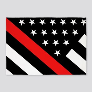 Firefighter Flag: Thin Red Line 5'x7'Area Rug