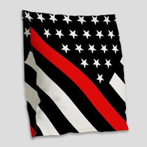 Firefighter Flag: Thin Red Lin Burlap Throw Pillow