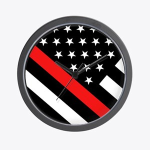 Firefighter Flag: Thin Red Line Wall Clock
