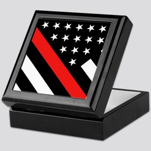 Firefighter Flag: Thin Red Line Keepsake Box