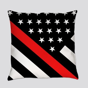 Firefighter Flag: Thin Red Line Everyday Pillow
