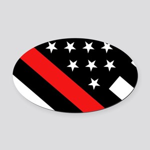 Firefighter Flag: Thin Red Line Oval Car Magnet