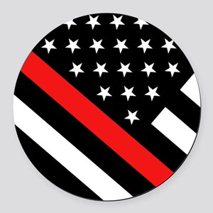 Firefighter Flag: Thin Red Line Round Car Magnet