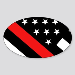 Firefighter Flag: Thin Red Line Sticker (Oval)