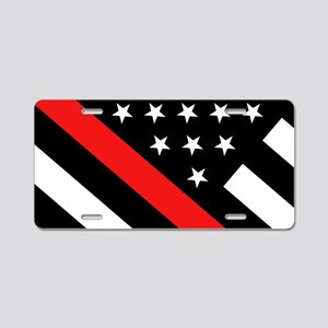 Firefighter Flag: Thin Red Aluminum License Plate