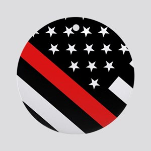 Firefighter Flag: Thin Red Line Round Ornament