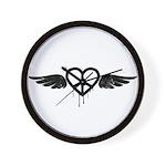 Heart Peace Wing in Black Wall Clock