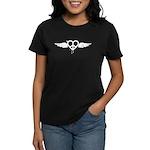 Heart Peace Wing in Black Women's Dark T-Shirt