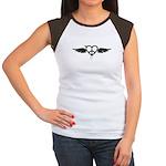 Heart Peace Wing in Black Women's Cap Sleeve T-Shi