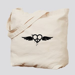 Heart Peace Wing in Black Tote Bag