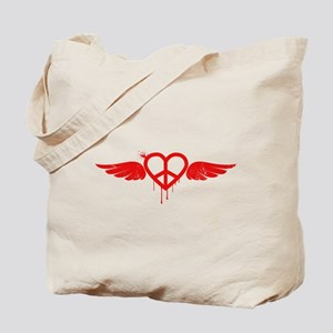 Heart Peace Wing in Red Tote Bag