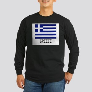 Greece Flag Long Sleeve Dark T-Shirt