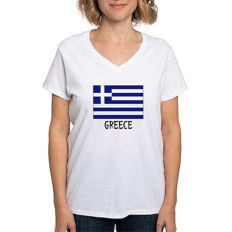 Greece Flag Women's V-Neck T-Shirt