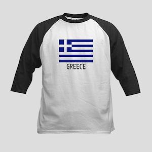 Greece Flag Kids Baseball Jersey