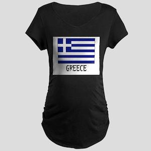 Greece Flag Maternity Dark T-Shirt