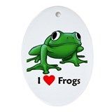 I love frogs Oval Ornaments