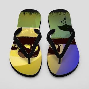 44056364e3bf19 African Animals Flip Flops - CafePress
