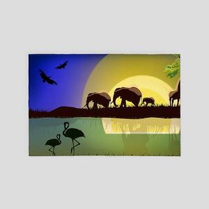 Animals African Landscape 4' x 6' Rug