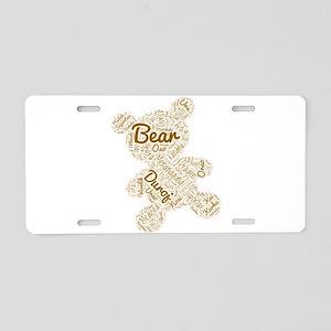 bear languages wordcloud Aluminum License Plate