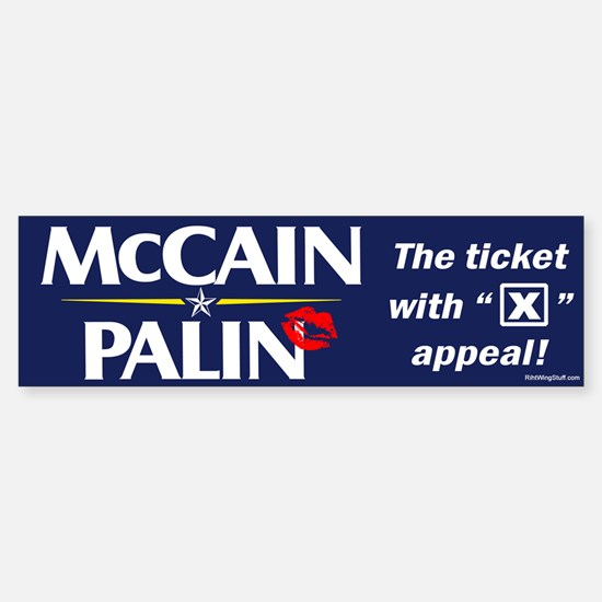 """McCain Palin """"X"""" Appeal Bumper Bumper Bumper Sticker"""