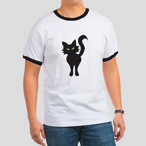 Front and Back Black Cat Ringer T