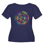 Peace Symbols Women's Plus Size Scoop Neck Dark T-