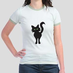 Front and Back Black Cat Jr. Ringer T-Shirt