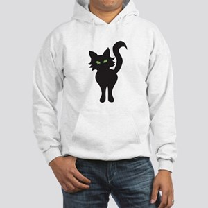 Front and Back Black Cat Hooded Sweatshirt