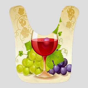 Wine Glass and Grape Vines Polyester Baby Bib