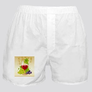 Wine Glass and Grape Vines Boxer Shorts