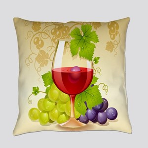 Wine Glass and Grape Vines Everyday Pillow