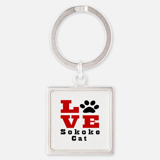 Love sokoke Cats Square Keychain