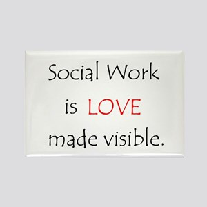 Social Work is Love Rectangle Magnet