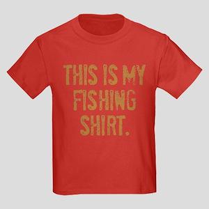 THIS IS MY FISHING SHIRT. Kids Dark T-Shirt