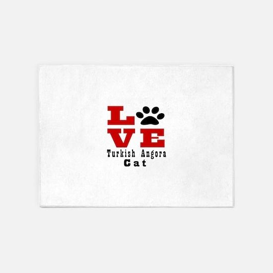 Love turkish angora Cats 5'x7'Area Rug