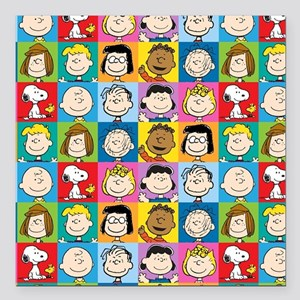 "Peanuts Back to School Square Car Magnet 3"" x 3"""