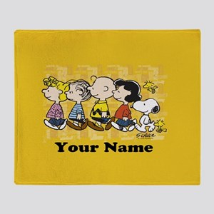 Peanuts Walking Personalized Throw Blanket