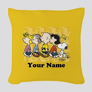 Peanuts Walking Personalized Woven Throw Pillow