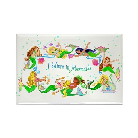 I Believe in Mermaids Rectangle Magnet (10 pack)