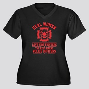 Real Woman love Firefighter T Sh Plus Size T-Shirt