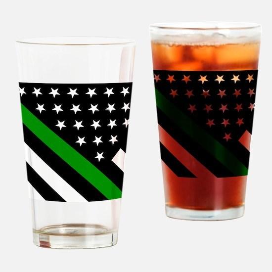 U.S. Flag: Thin Green Line Drinking Glass