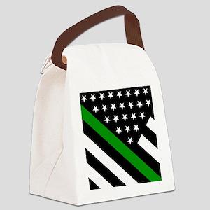 U.S. Flag: Thin Green Line Canvas Lunch Bag
